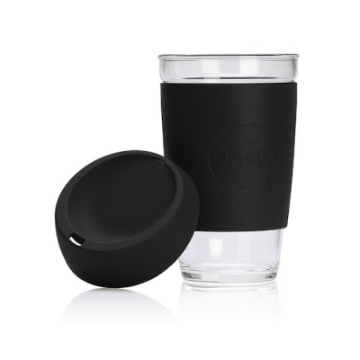 JOCO Cup Reusable Glass Coffee Cup 16oz - Black